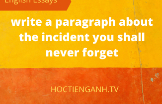 write a paragraph about the incident you shall never forget